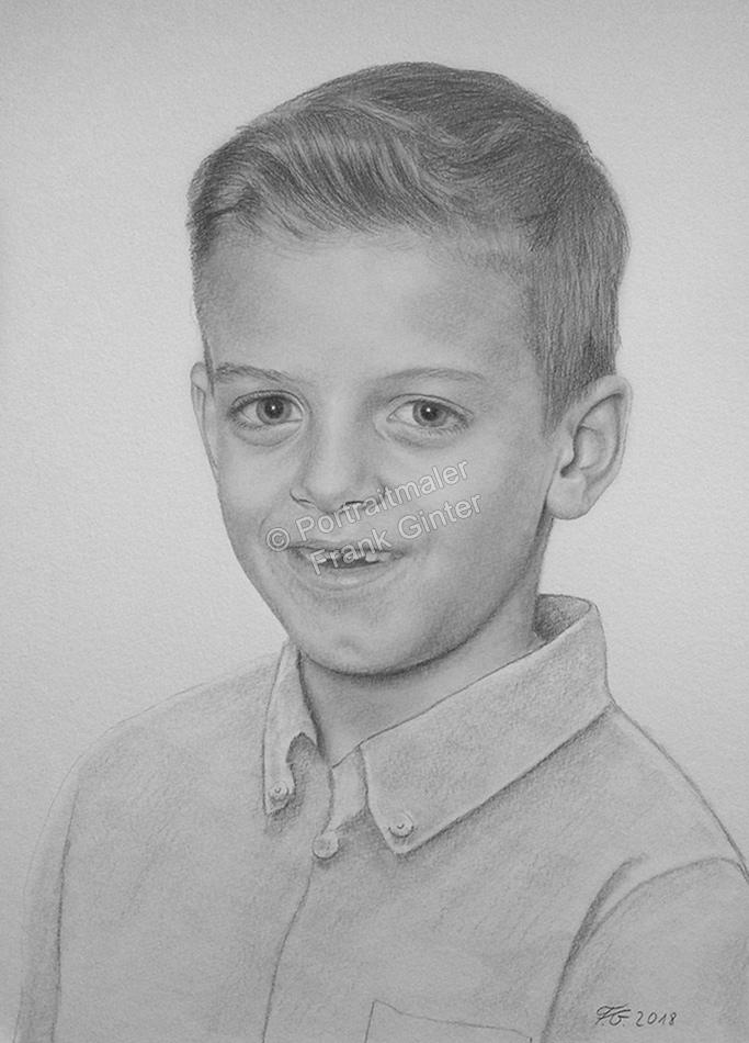Bleistiftzeichnung, Portrait, Jungen Portraits zeichnen lassen Kinder-Portrait, Portraitzeichnung