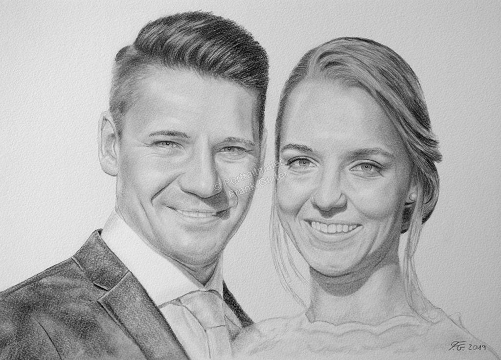 Bleistiftzeichnungen, Portraitzeichnung, Portrait zeichnen lassen, Hochzeitsportrait zeichnen
