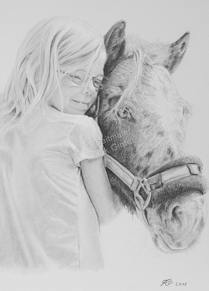 Bleistiftzeichnungen, Kinder mit Pferden zeichnen,  Portraitzeichnungen, Kinder-Pferde-Portraits zeichnen lassen