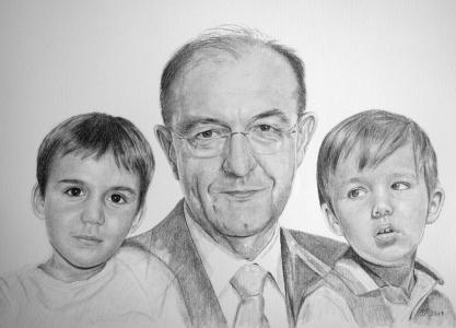 Bleistiftzeichnungen, Kinder mit Großpapa zeichnen,  Portraitzeichnungen, Kinder-Familien-Portraits zeichnen lassen