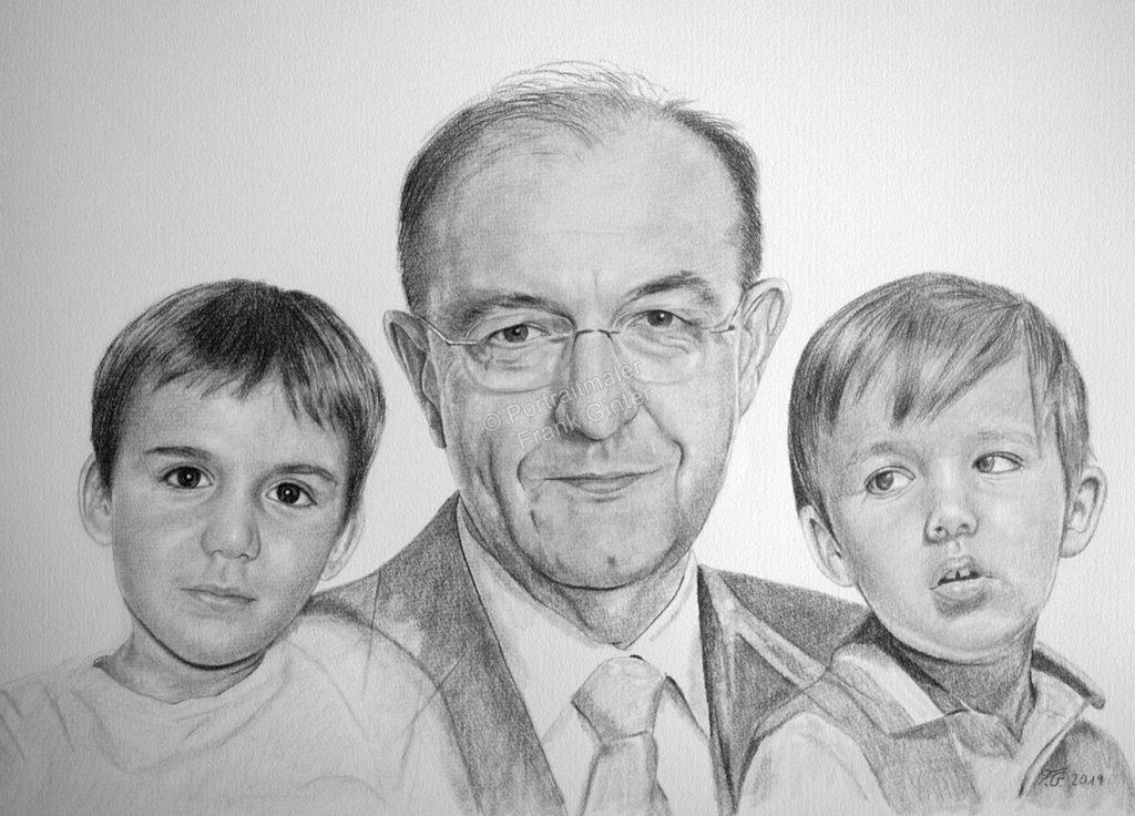 Bleistiftzeichnungen, Portraitzeichnung  Familie Geschwister und Opa, Portrait zeichnen lassen, Portrait vom Foto mit Bleistift, Familien-Bleistiftzeichnung
