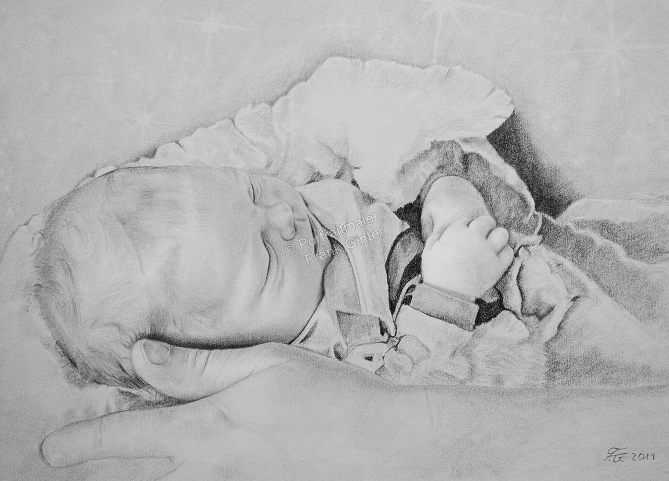 Baby zeichnen lassen, Babyportrait Bleistiften und Kohlestiften, Baby Zeichnung Bleistifte, Babyzeichnungen mit Bleistift, Babys mit Bleistiften gezeichnet, Babyzeichner Fotorealismus
