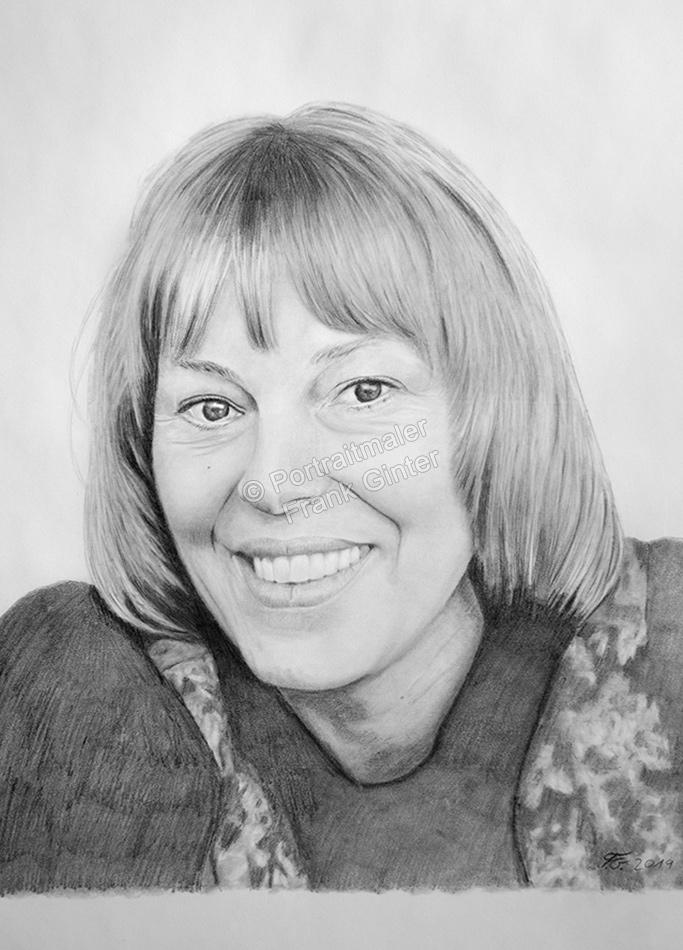 Kohlezeichnungen, Portraitzeichnung Frau, Kohlezeichnung, Kohle-Zeichner, Portraitzeichnung ein Frau, Bleistiftzeichnung