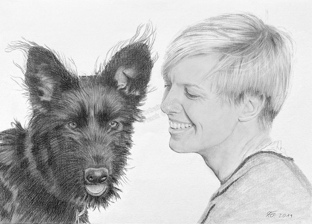 Bleistiftzeichnungen mit Hund und Herrchen, Tierzeichnungen, Hundezeichnungen mit Frau, Tierportraits mit Bleistiften, Hundebilder, Fotorealismus