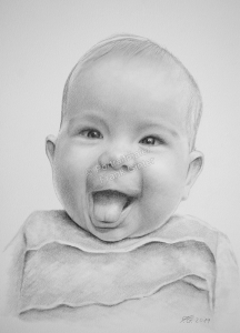 Bleistiftzeichnung Baby, Baby Zeichnungen mit Bleistift und Kohle, Babyzeichnungen einzigartig, Babyportraits mit Bleistift zeichnen lassen, Babybilder von Hand zeichnen lassen