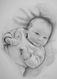 Bleistiftzeichnung mit Baby, Baby Zeichnung Bleistift, Baby Zeichnungen einzigartig, Babyportraits mit Bleistift, Babybilder von Hand gezeichnet