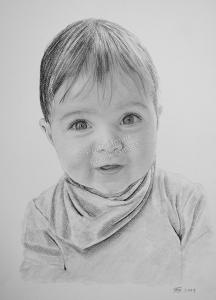 Bleistiftzeichnung mit Baby, Baby Zeichnungen Bleistift, Baby Zeichnungen einzigartig, Baby Portraits mit Bleistift, Babybilder von Hand gezeichnet