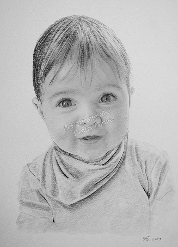Bleistiftzeichnungen, Babyportraits Bleistifte und Kohle, Baby Zeichnung Kohle, Babyzeichnungen, Babys mit Bleistiften gezeichnet, Babyzeichner