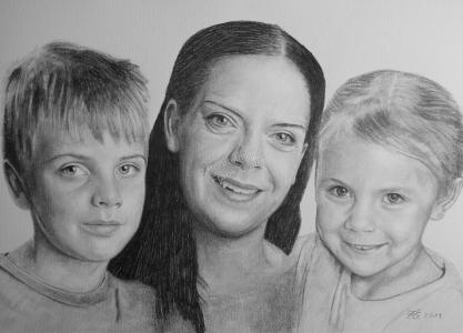 Bleistiftzeichnungen mit Familie Mutter, Familienzeichnung, Familienzeichnungen, Familienportraits mit Bleistift, Familienbilder