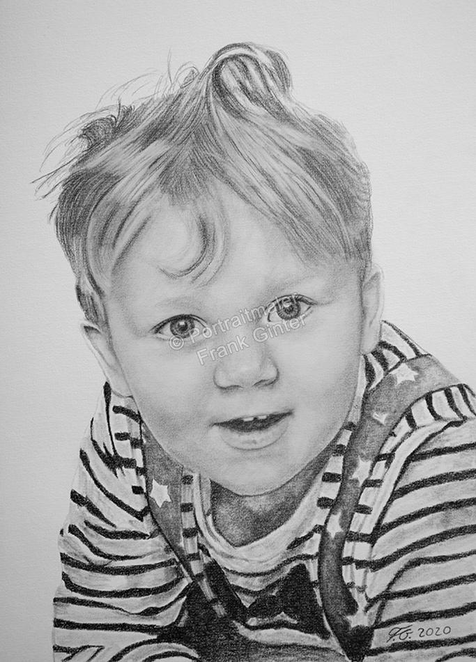 Bleistiftzeichnungen, Portraitzeichnungen, Jungen Portraits zeichnen lassen, Kinder-Portraits