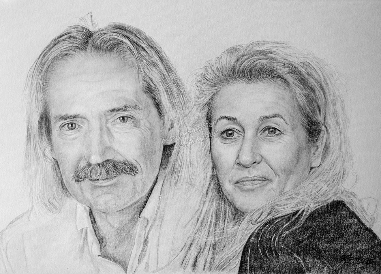 Bleistiftzeichnungen, Portraitzeichnung, Portrait zeichnen lassen, Mann und Frau zeichnen