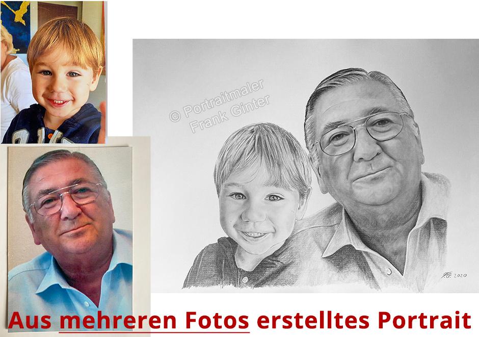 Ein Portrait aus zwei verschiedenen Fotovorlagen zu einem Bild zeichnen lassen