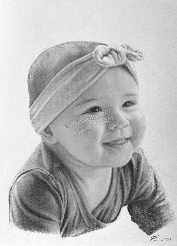Bleistiftzeichnung als einem Babyportrait