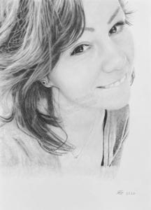 Jungen Frau in mit Bleistiften gezeichnet