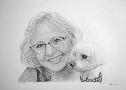 Frau mit ihrem Hund mit Bleistift gezeichnet