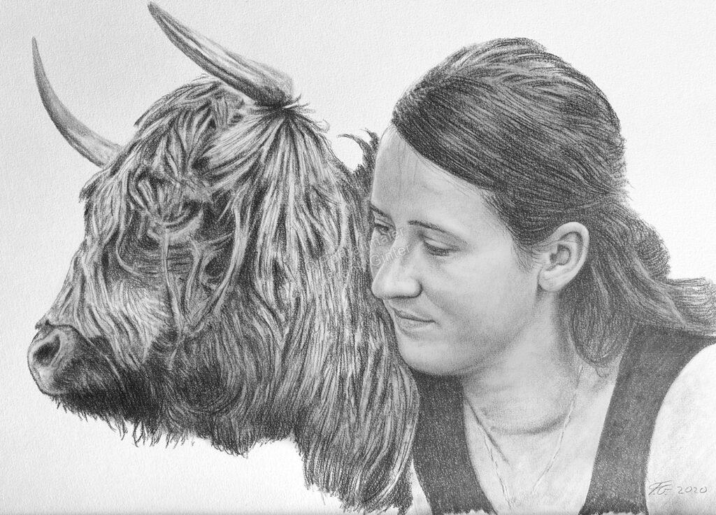 Eine Frau und ihre Kuh als Bleistiftzeichnung