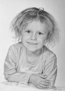 Portätzeichnung eines Mädchens