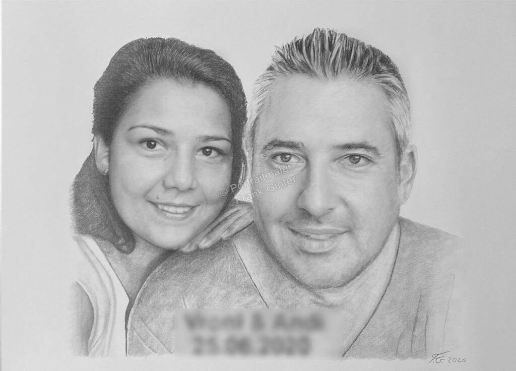 Portraitzeichnung mit einem Paar