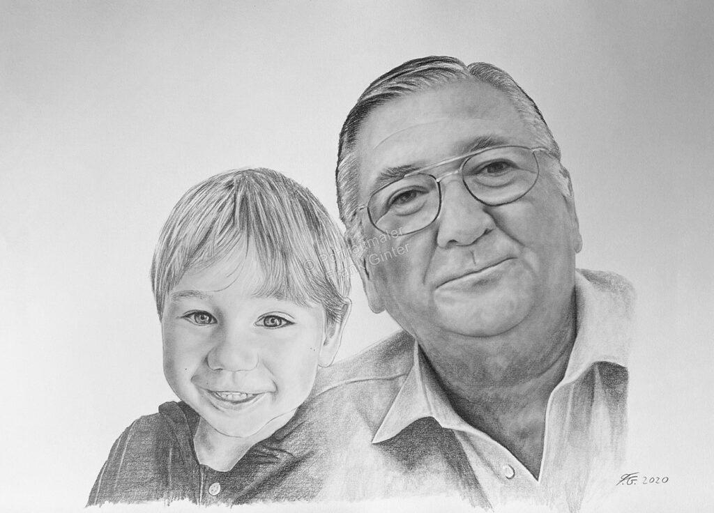 Bleistiftzeichnung, der Opa und sein Enkelkind