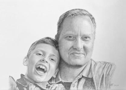 Bleistiftzeichnungen, Portrait mit Vater und Sohn